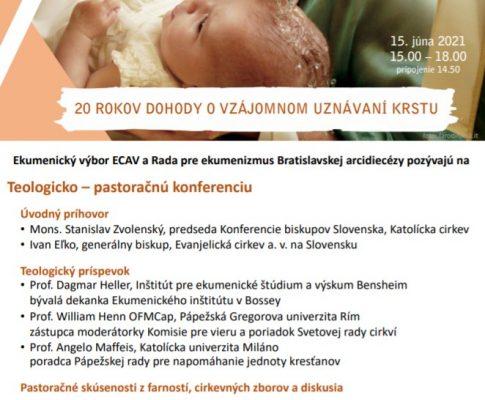 20. výročiu podpísania dohody o vzájomnom uznávaní krstu medzi Evanjelickou cirkvou a. v. na Slovensku a Katolíckou cirkvou